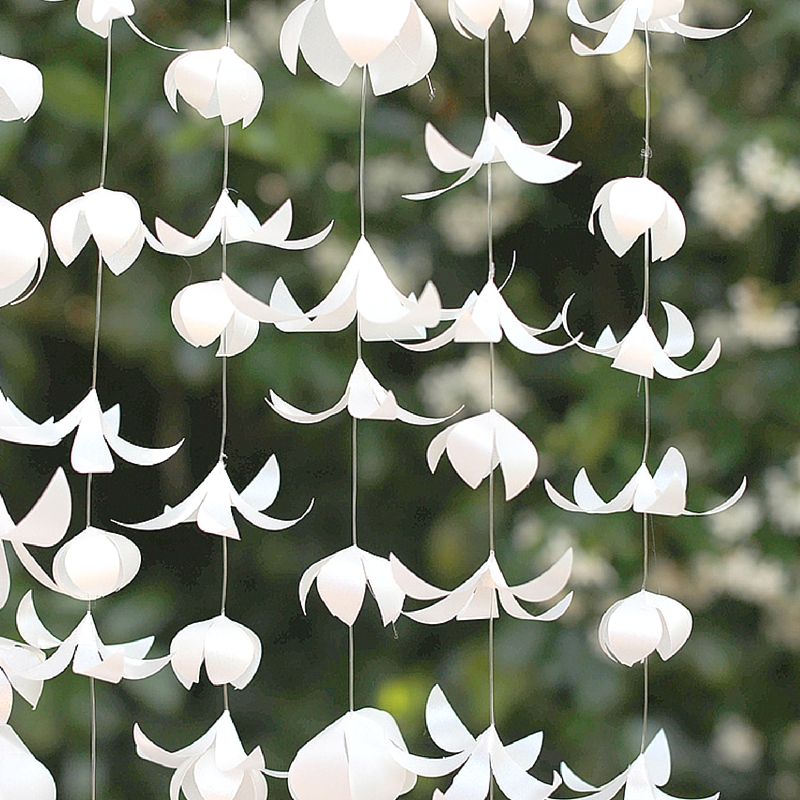 White Vellum Paper Flower Garland