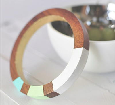 Color Block Wood Bangles