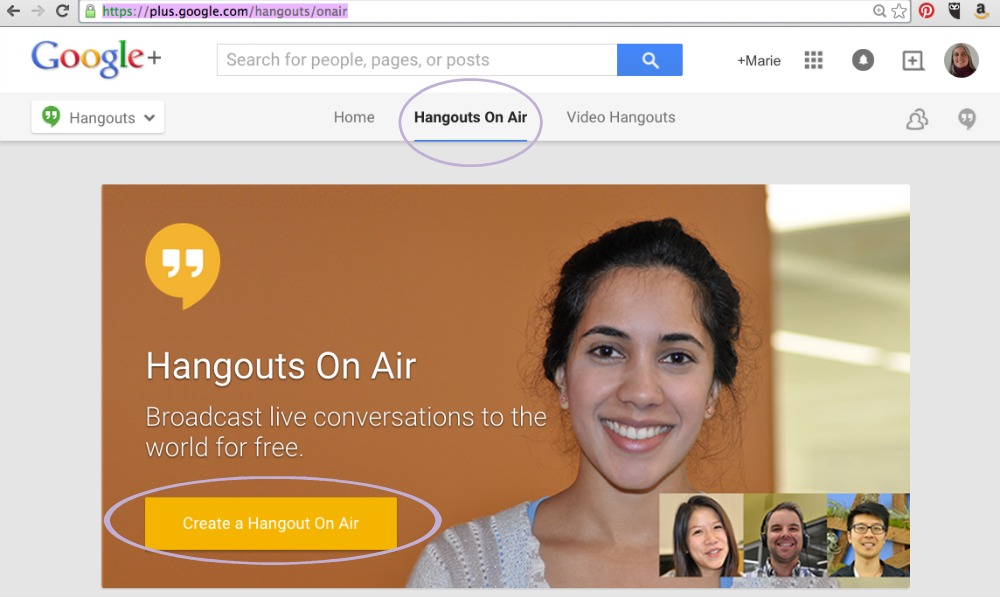 Choose Hangouts on Air and then Create a Hangout on Air.