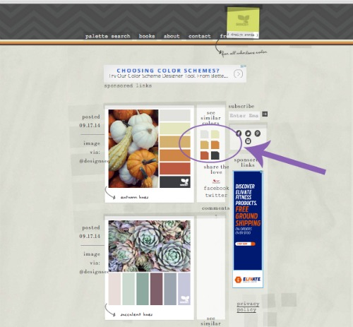 On Design Seeds, hover over the small color boxes on the right to see the hex numbers.