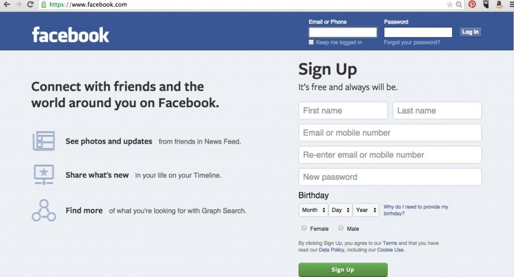 Facebook's sign up process guides you through set up with prompts.