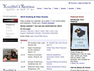 Knitter's Review maintains a list of fiber festivals, most of which offer classes on crochet, dyeing, knitting, spinning, and/or weaving.