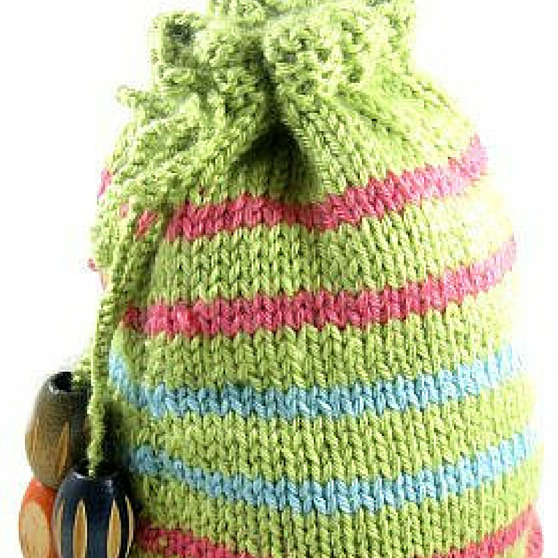 Striped Drawstring Pouch